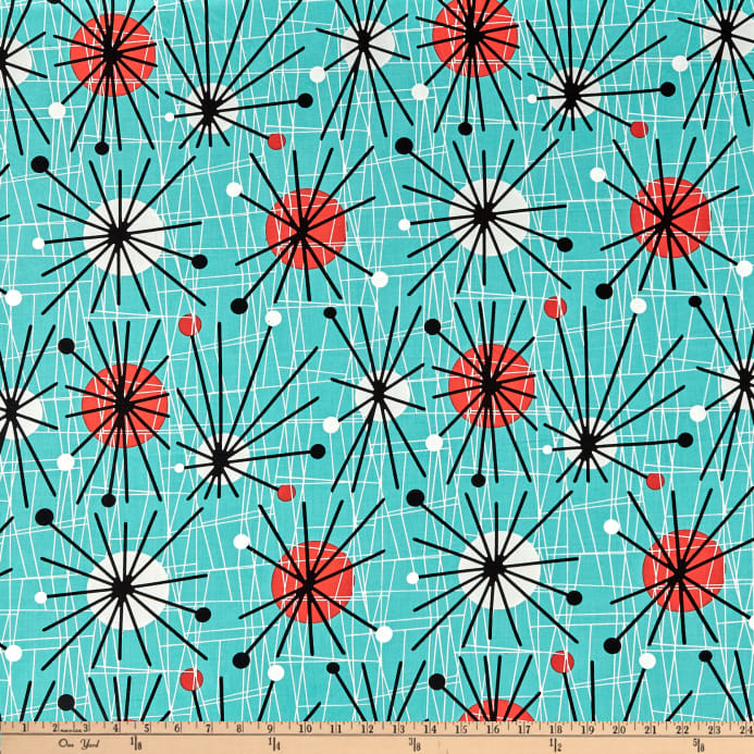 Michael Miller Mid Century Modern Atomic Turquoise Fabric From 890