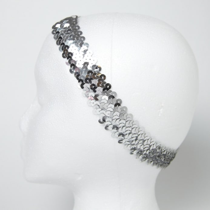 1 1 4 metallic sequin stretch headband silver discount designer