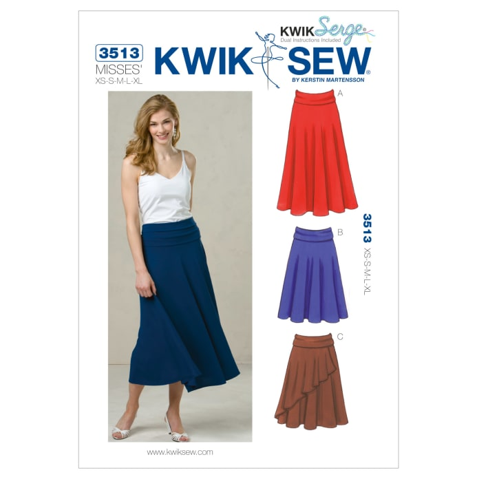 Kwik Sew Misses Fold Over Waist Knit Skirts Pattern Discount