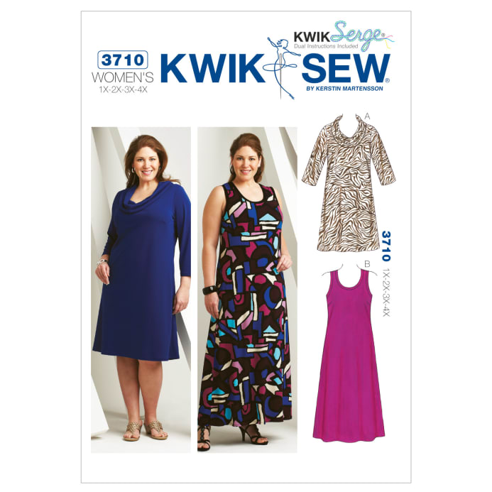 Kwik Sew Cowl Scoop Neck Dresses Plus Size Pattern Discount