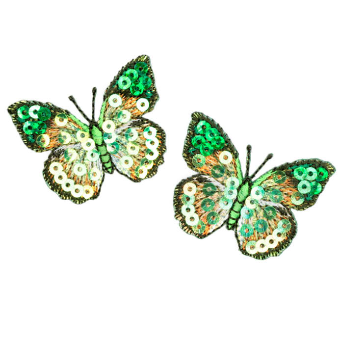 Small Butterfly Iron On Sequin Applique Green Discount