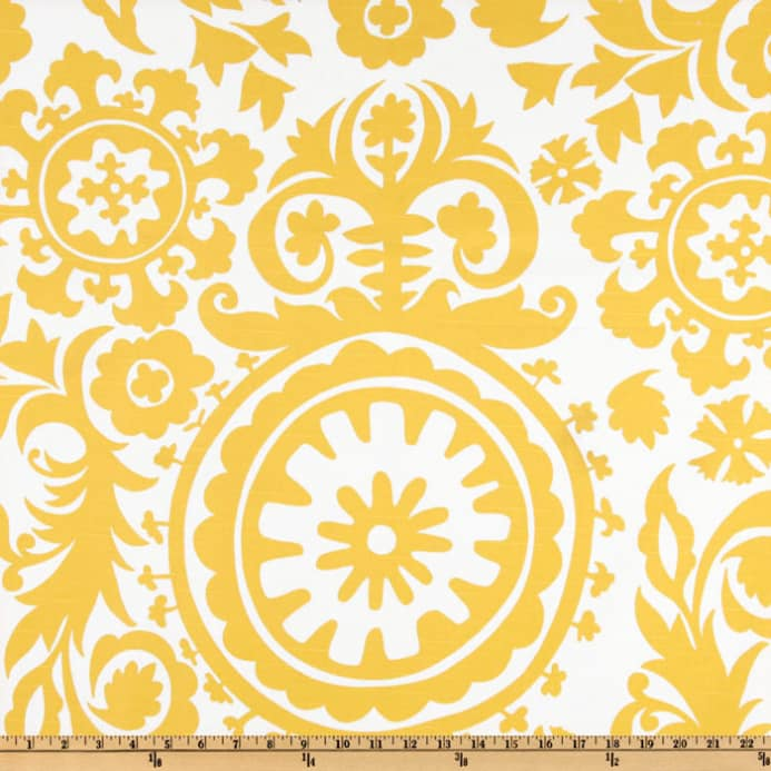 Premier Prints Suzani Slub Yellow/White - Discount Designer Fabric ...