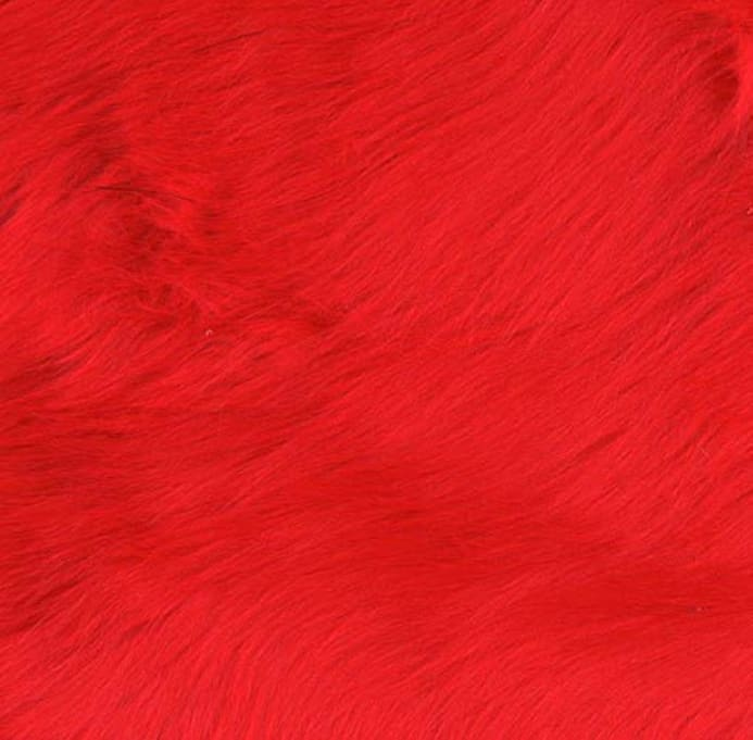 Red Faux Fur Cuff Pullover For Women: Shannon Faux Fur Luxury Shag Fire Red