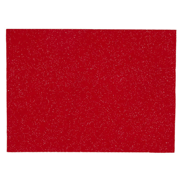 "Glitter Felt 9"" x 12"" Craft Cut Red"