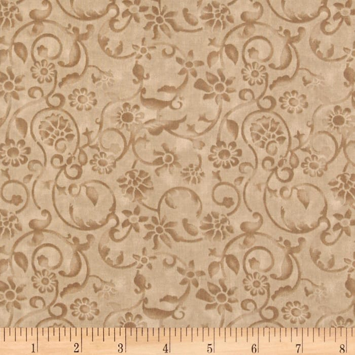 "108"" Tonal Scroll Quilt Backing Taupe"