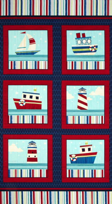 """Ship's Ahoy 24"""" Panel Navy/Red"""