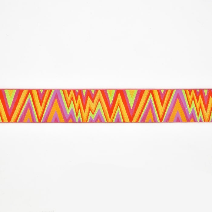 "1 1/2"" Kaffe Fasset Flame Stitch Ribbon Orange/Pink"