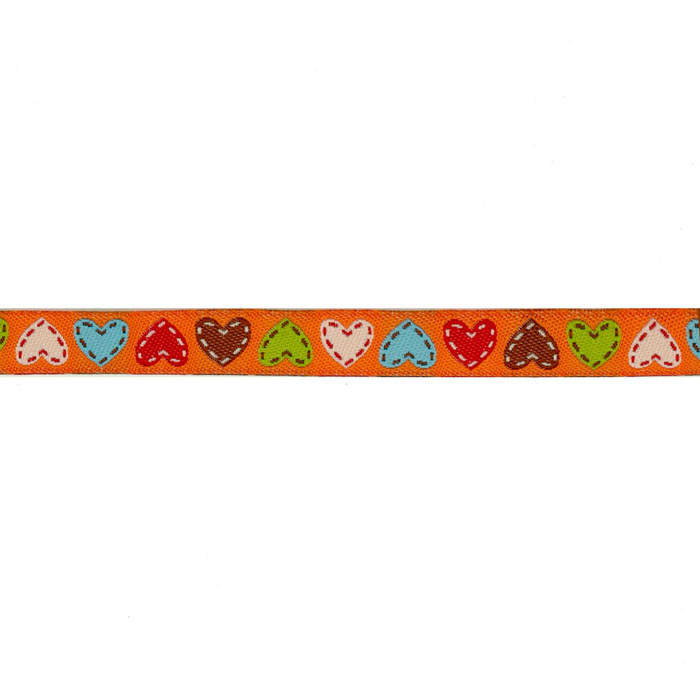 "3/8"" Dena Designs Happi Hearts Ribbon Orange"