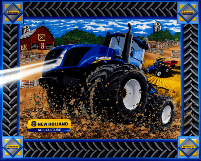 """New Holland Tractor Quilt Panel 36"""" Panel"""