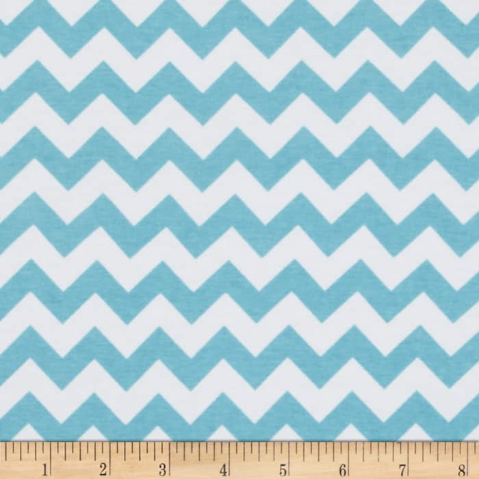 Riley Blake Jersey Knit Chevron Small Aqua