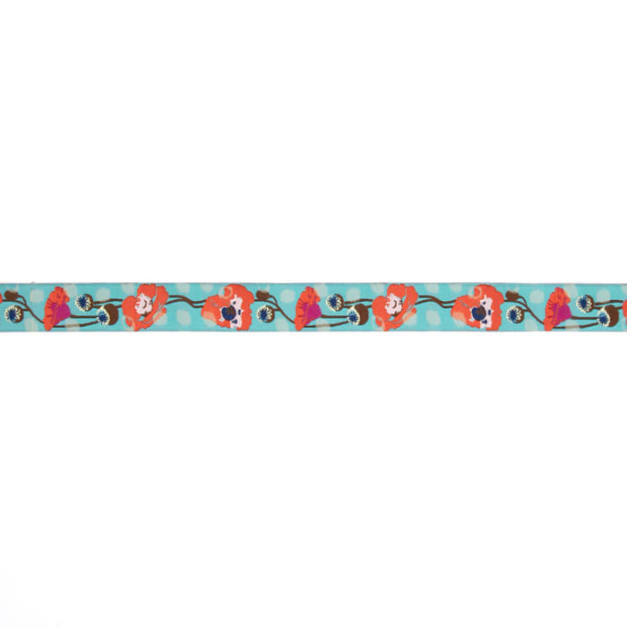 "7/8"" Anna Maria Horner Raindrops On Poppies Ribbon Orange/Turquoise"