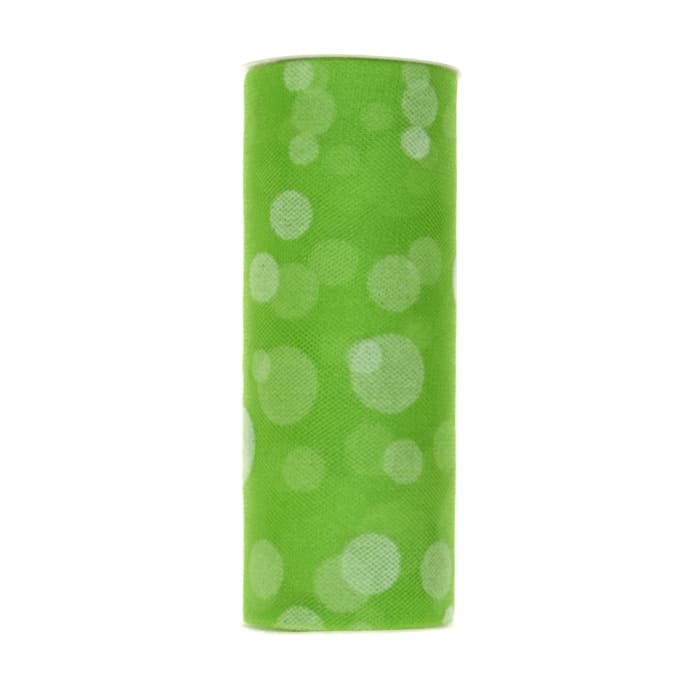 Tulle Spool Polka Dots Lime