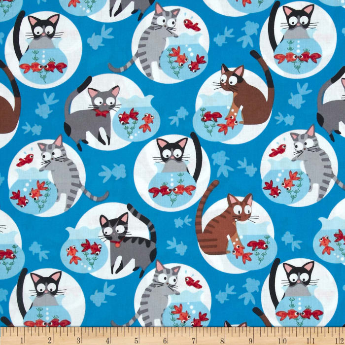 Timeless Treasures Bundle of Joy Cats and Fishbowls Blue