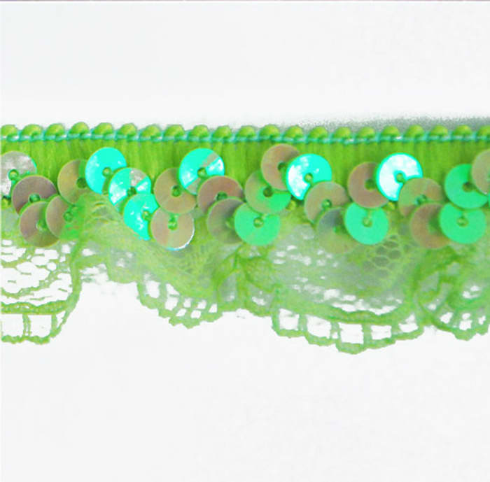 """1"""" Stretch Iridescent Sequin And Scallop Ruffle Trim Lime"""