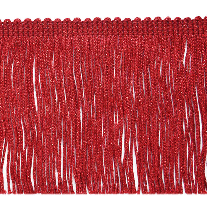 "4"" Metallic Chainette Fringe Trim Red"
