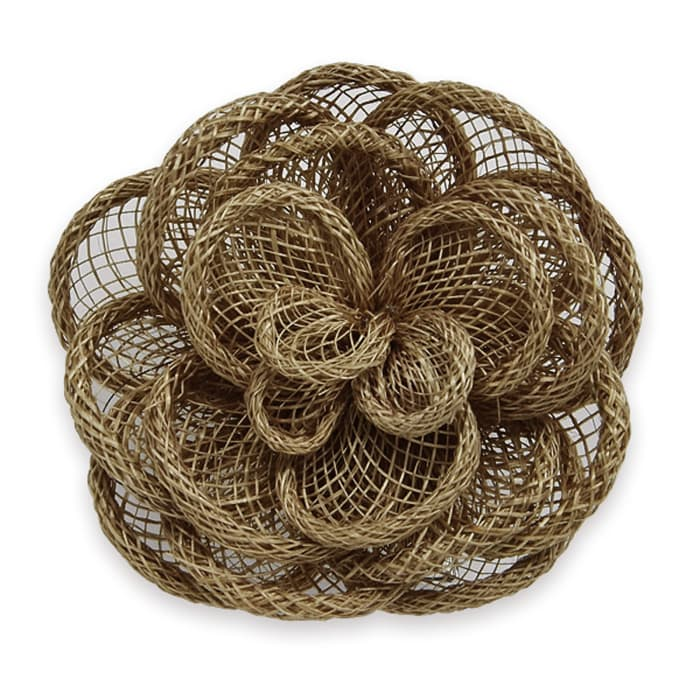 "3"" Brooch And Hairclip Abaca Impatiens Light Brown"