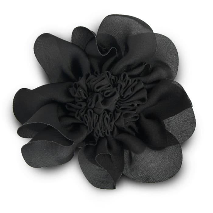 "3"" Ruched Flower Pin And Hairclip Black"