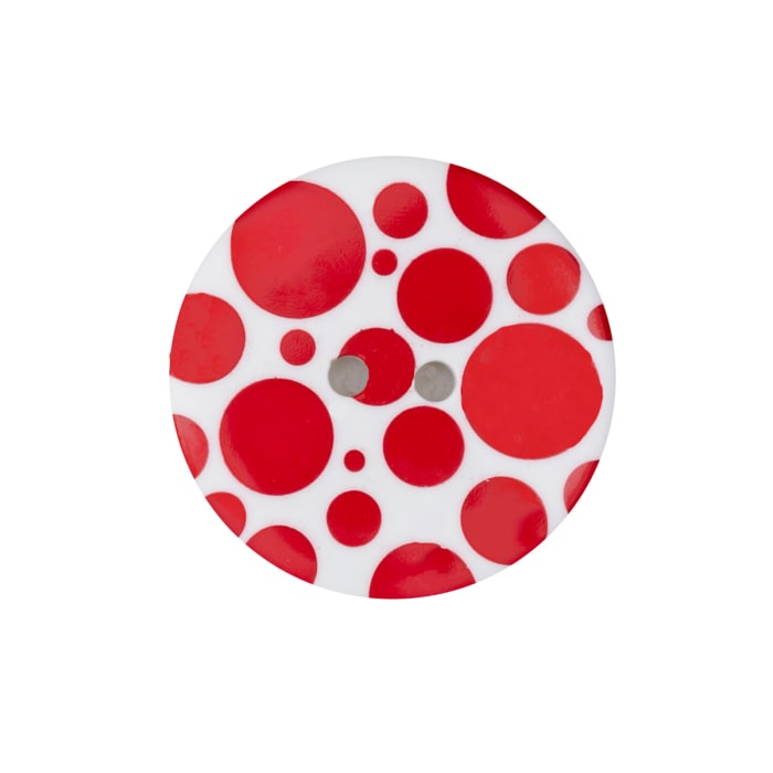 "Dill Novelty Button 3/8"" Red Dot on White"