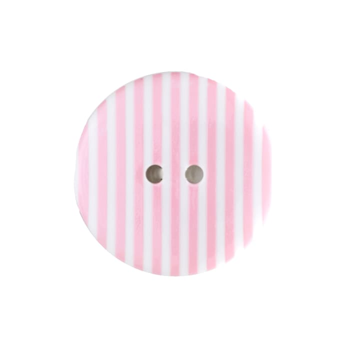 "Dill Novelty Button 3/4""  Pink Stripe on White"