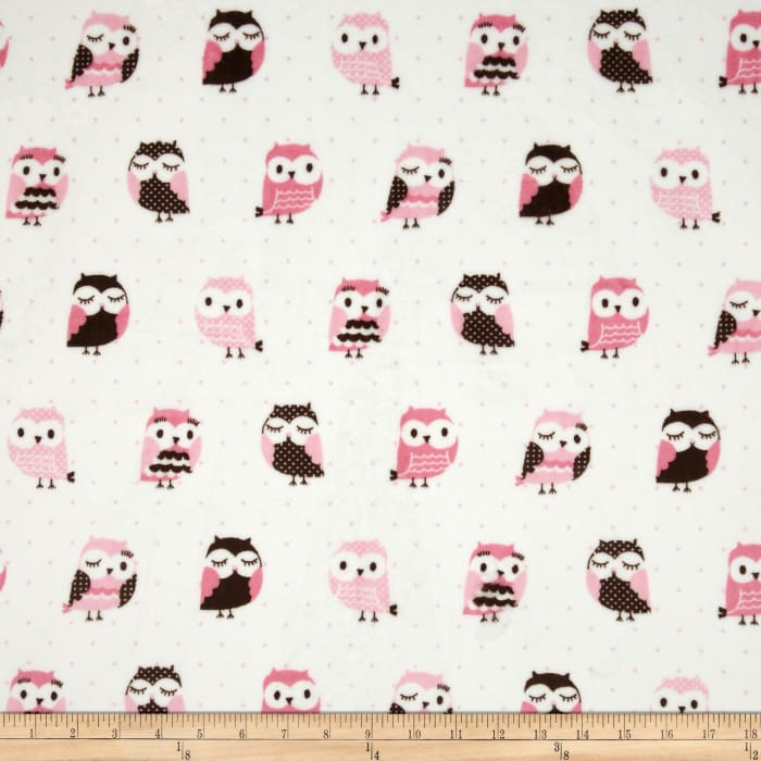Minky Owls Pink/Brown
