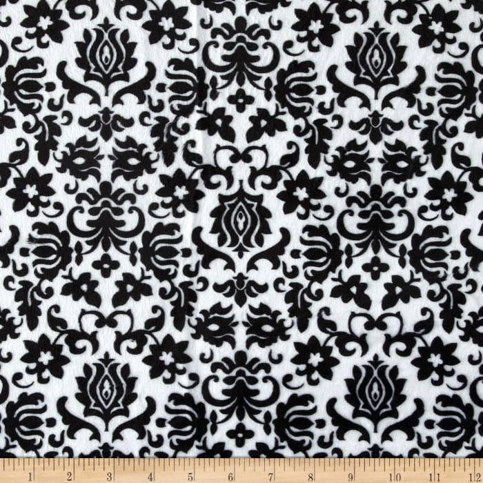 Minky Tulip Damask Black/White