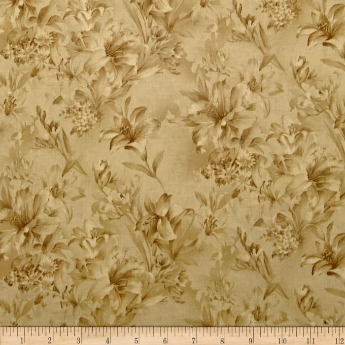 """118"""" Wide Day Lily Quilt Backing Floral Tan"""