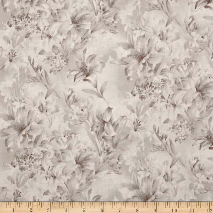 """108"""" Wide Day Lily Quilt Backing Floral Taupe"""