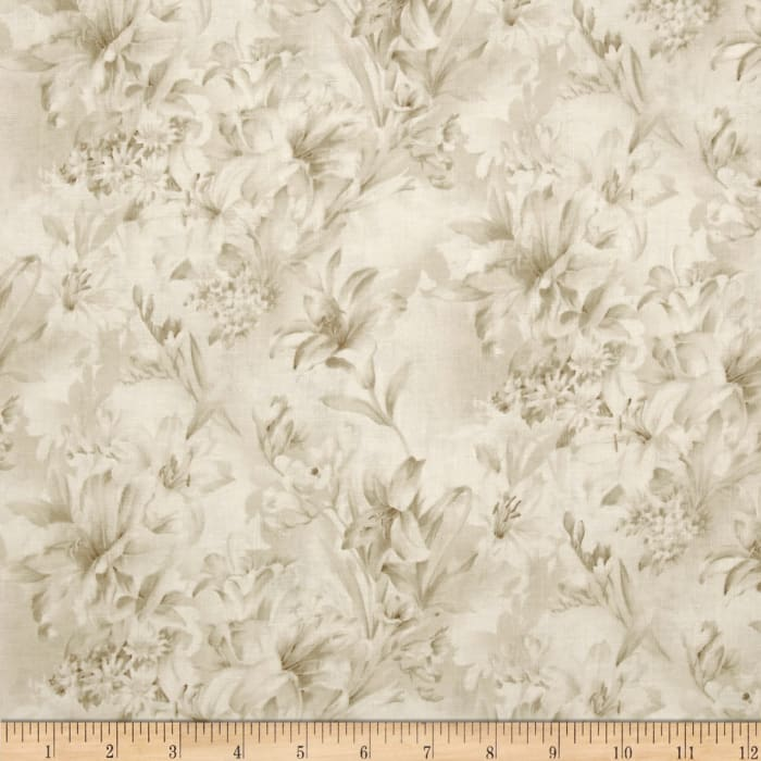 """Day Lily 108"""" Wide Quilt Backs Floral Cream"""