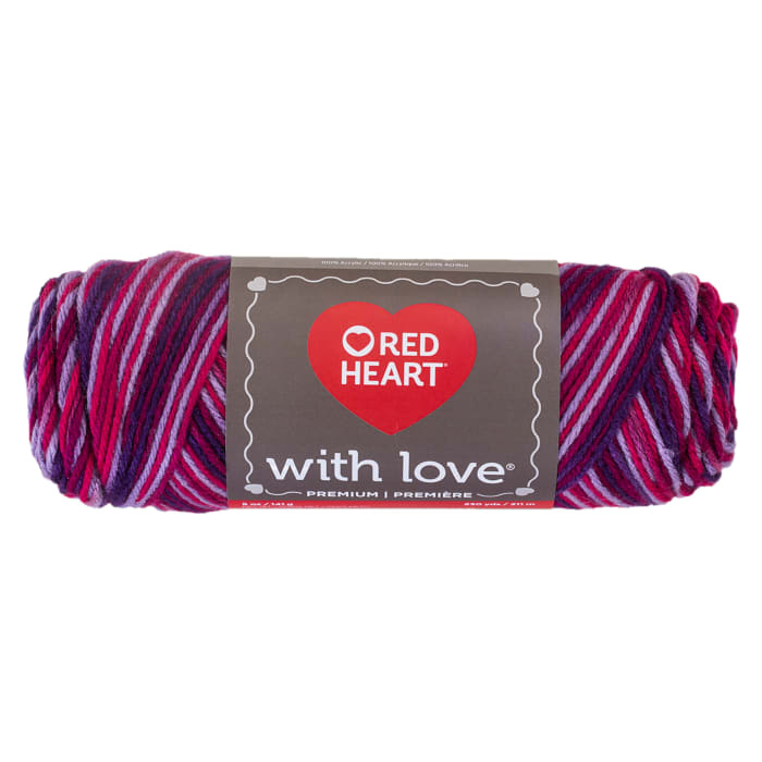 Red Heart Yarn With Love Variegated 1942 Plum