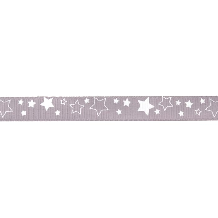"Riley Blake 3/8"" Grosgrain Ribbon Stars Gray"