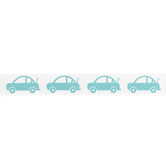 "Riley Blake 1/2"" Cotton Tape Ribbon Cars Aqua"