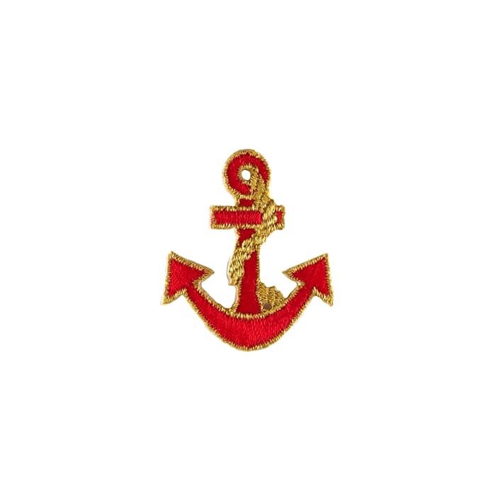 Anchor with Tiny Border Applique Red/Gold