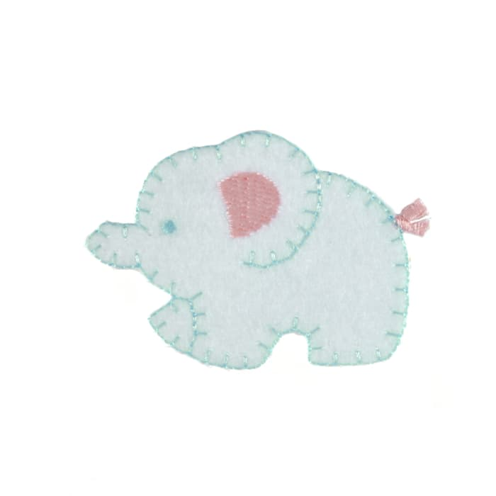 Mother Elephant Applique White