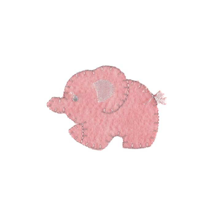 Mother Elephant Applique Pink