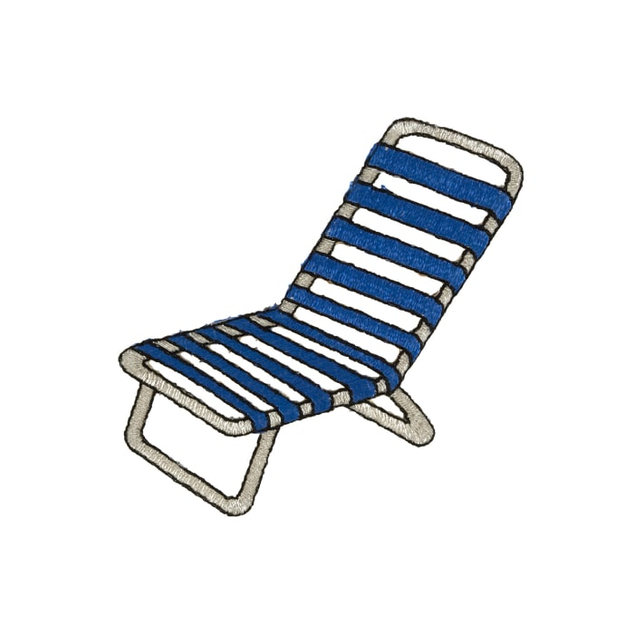 Beach Chair Applique Royal Blue/Metallic Silver