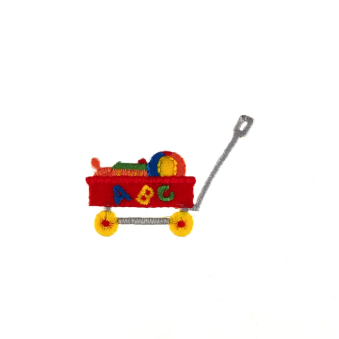 Toy Wagon Applique Red