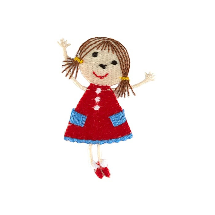 Girl Doll Applique Red
