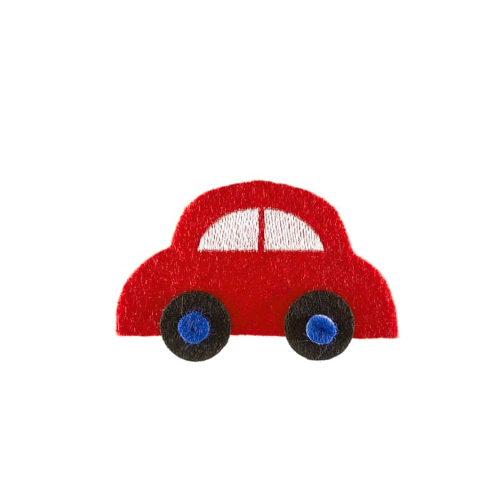 Car with Moving Wheels Applique Red
