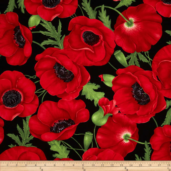 Timeless Treasures Poppies Large Poppy Red