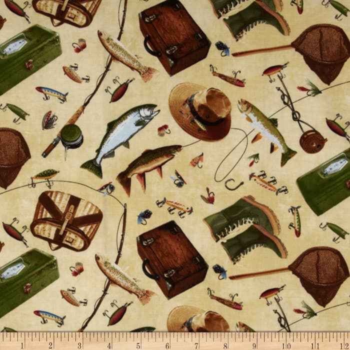 Timeless Treasures Norman Rockwell Fishing Icons Natural