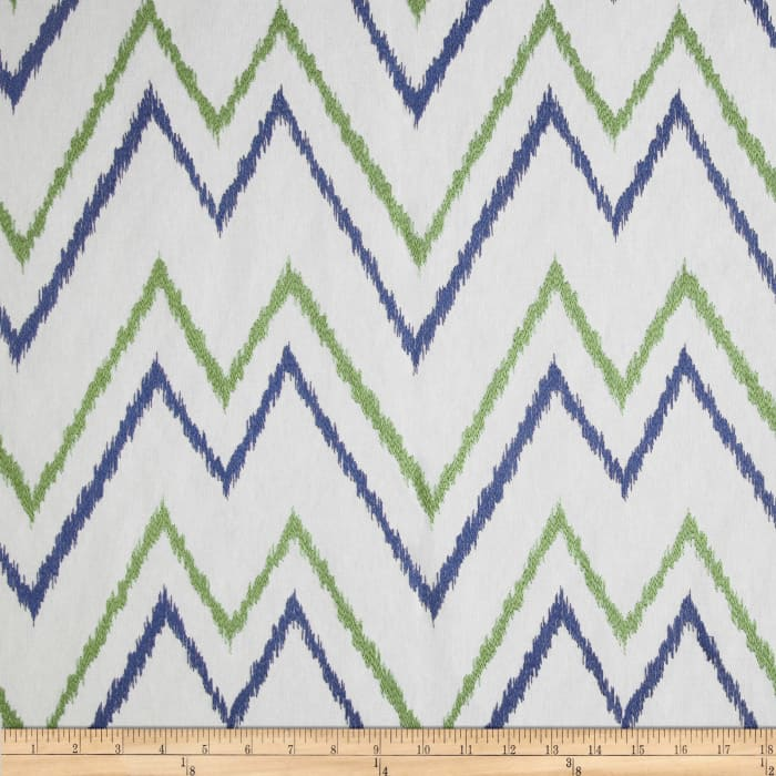 Duralee Home Embroidered Levi Chevron Blue/Green