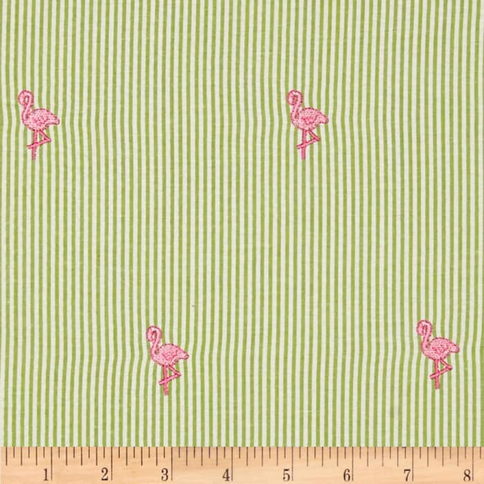 Embroidered Seersucker Lime/White Flamingo Hot Pink