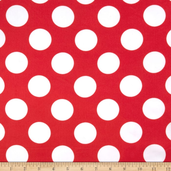 Charmeuse Satin Large Polka Dots Red/White