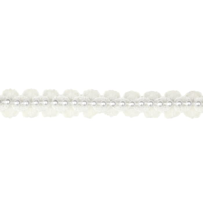 "5/8""  Lace With Pearl Center Trim White"