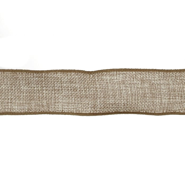 """1 1/2"""" Faux Burlap Wired Ribbon Natural"""