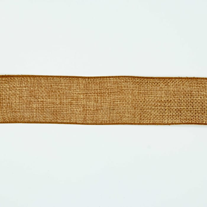 """1 1/2"""" Faux Burlap Wired Ribbon Antique Gold"""
