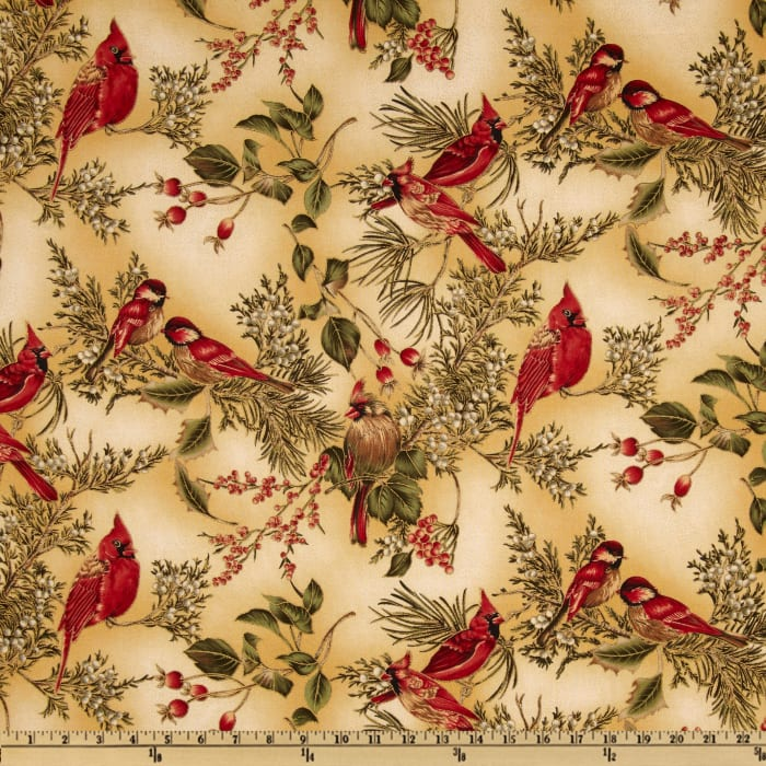 Winter Wishes Cardinals Metallic Cream/Gold