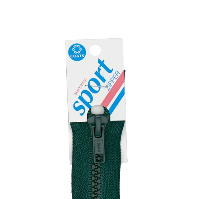 "Coats & Clark Sport Separating Zipper 28"" Forest Green"