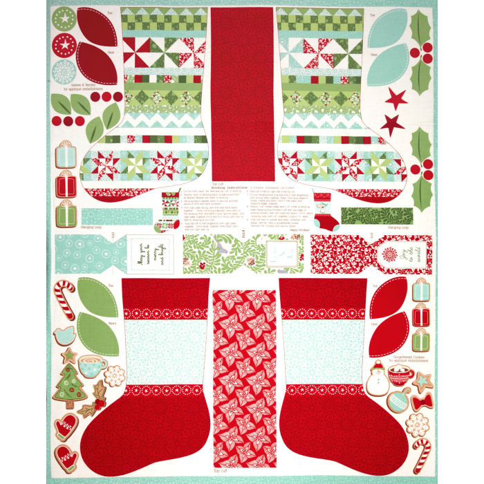 Moda In From The Cold Stockings Panel Aqua