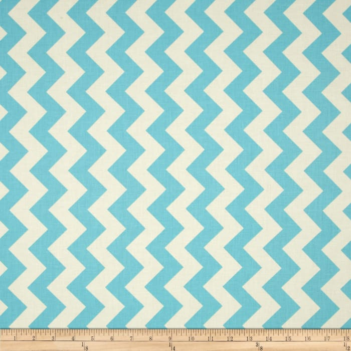 Riley Blake Le Creme Basics Chevron Aqua/Cream